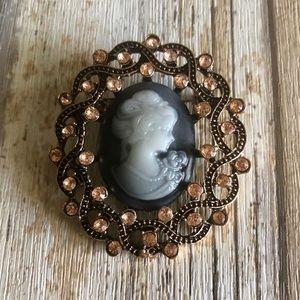 Vintage Victorian Cameo Pink Rhinestone Brooch Pin